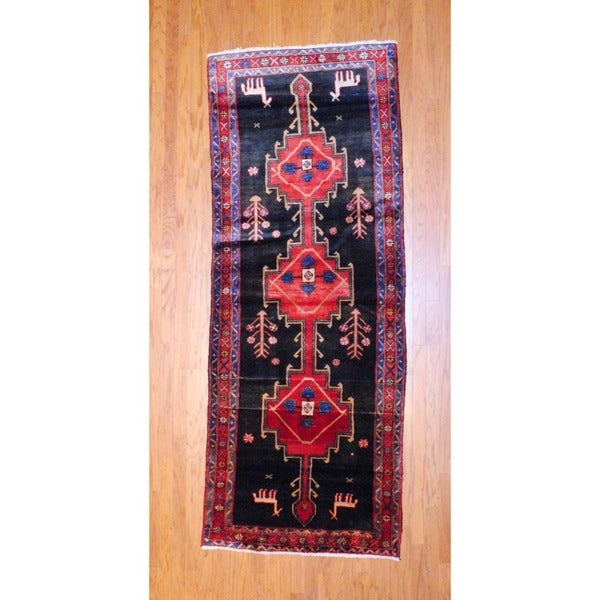 Persian Hand-knotted 1970's Hamadan Black/ Red Wool Runner (3'9 x 9'7)