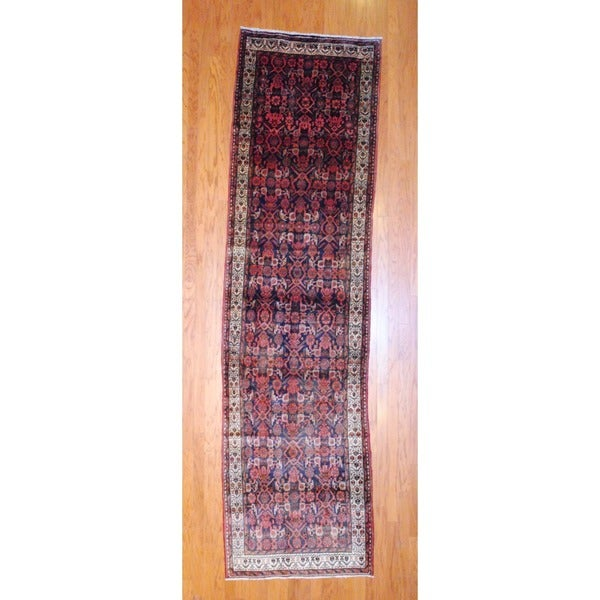 Persian Hand-knotted 1950's Hamadan Black/ Rust Wool Runner (3'5 x 12'6)