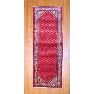 Herat Oriental Persian Hand-knotted 1980s Hamadan Mir Red/ Black Wool Runner (3'8 x 10'2)