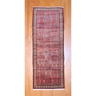 Herat Oriental Persian Hand-knotted 1960s Hamadan Rust/ Black Wool Runner (3'9 x 10')