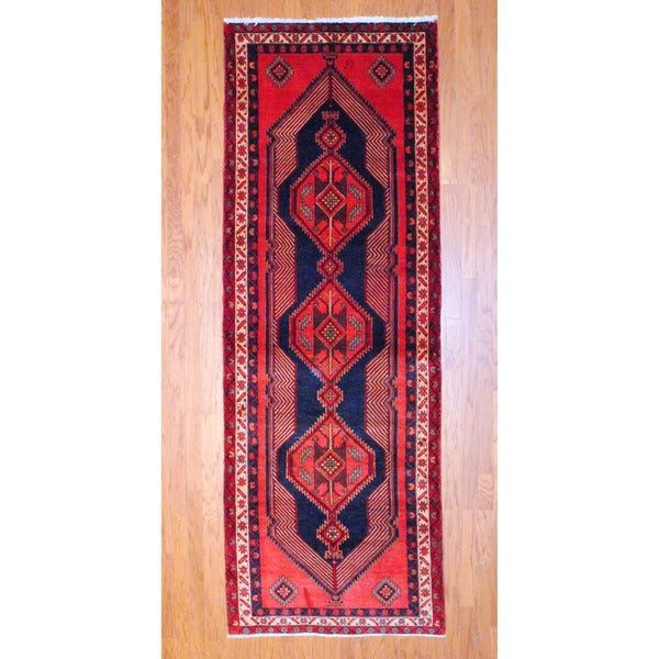 Persian Hand-knotted 1970's Hamadan Red/ Black Wool Runner (3'7 x 10'1)