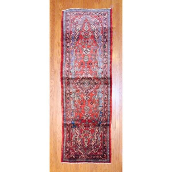 Persian Hand-knotted 1960's Hamadan Rust/ Light Blue Wool Runner (3'6 x 10'6)