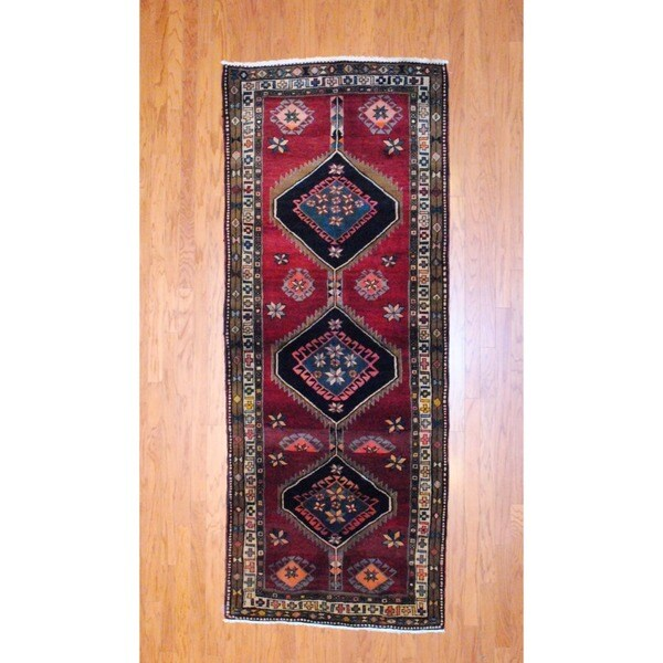 Persian Hand-knotted 1960's Hamadan Burgundy/ Black Wool Runner (3'8 x 9'4)