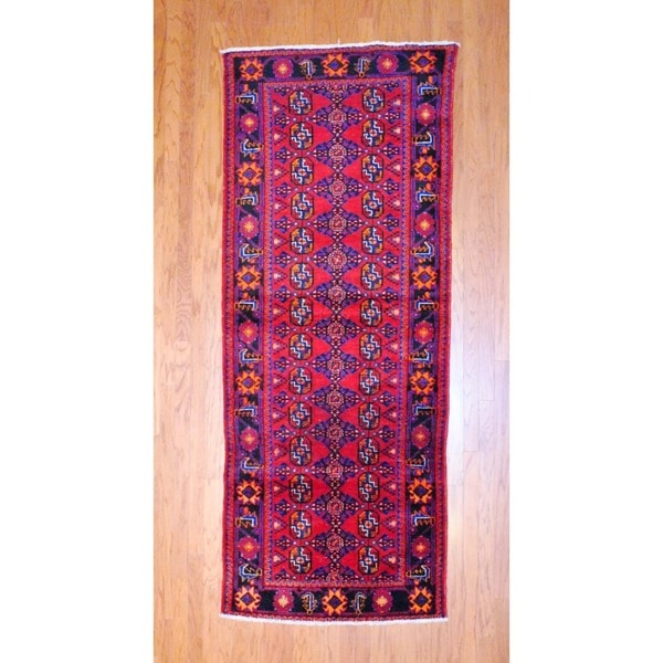 Persian Hand-knotted 1970's Hamadan Red/ Navy Wool Runner (3'10 x 9'7)