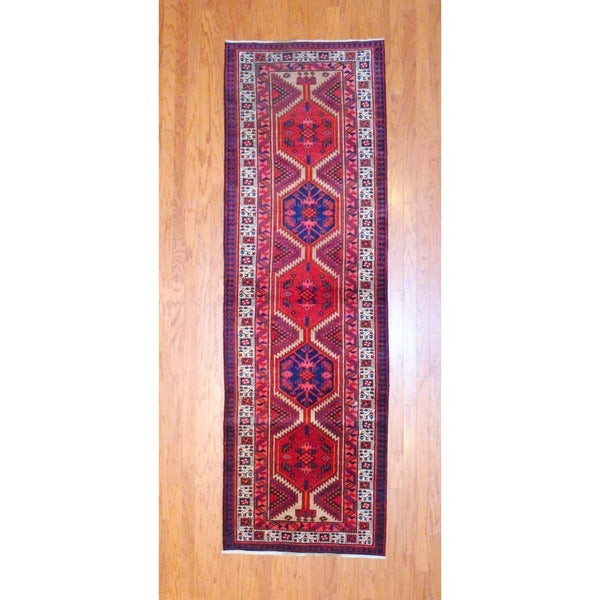Persian Hand-knotted 1970's Hamadan Red/ Navy Wool Runner (3'2 x 10')
