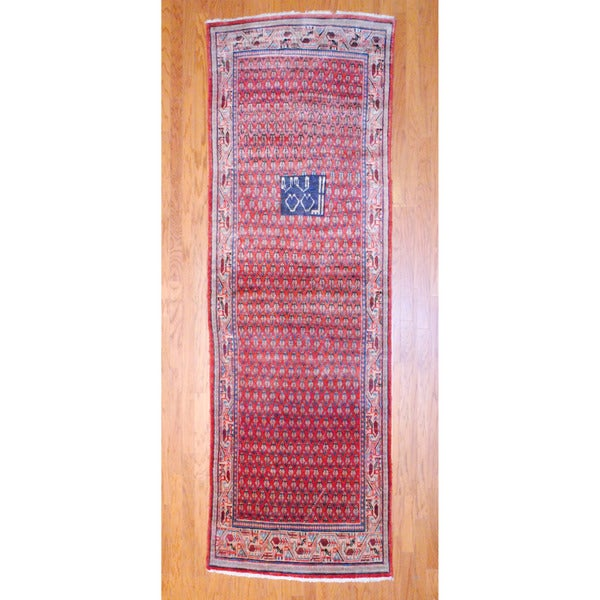 Persian Hand-knotted 1960's Hamadan Mir Rust/ Ivory Wool Runner (3'6 x 11'5)