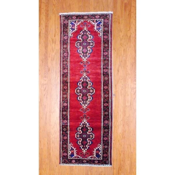 Herat Oriental Persian Hand-knotted 1960s Hamadan Burgundy/ Navy Wool Runner (3'5 x 10')