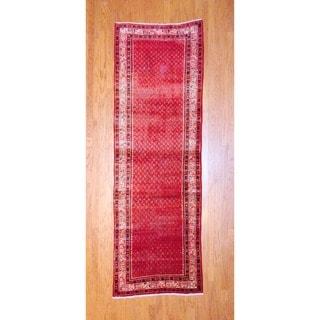 Herat Oriental Persian Hand-knotted 1970s Hamadan Mir Red/ Beige Wool Runner (3'5 x 10'6)