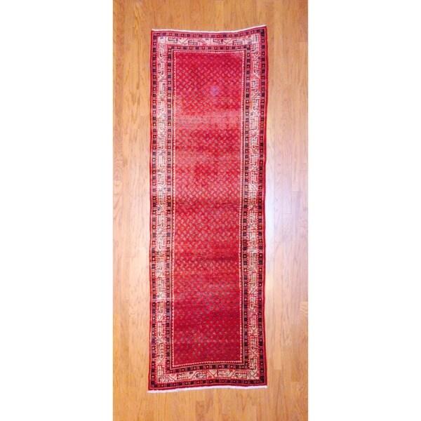 Herat Oriental Persian Hand-knotted 1970s Semi-antique Hamadan Wool Runner (3'5 x 10'6)