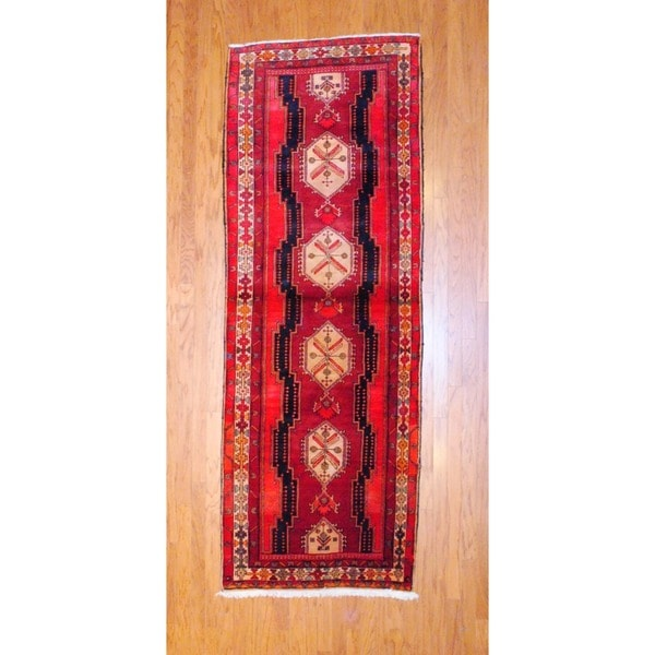 Persian Hand-knotted 1970's Hamadan Red/ Navy Wool Runner (3'6 x 9'9)