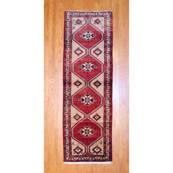 Persian Hand-knotted 1960's Hamadan Beige/ Red Wool Runner (3'4 x 10'7)
