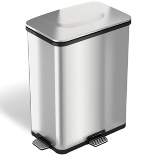 iTouchless 13-gallon Stainless Steel Step-Sensor Trash Can with Flexible Three Way Step