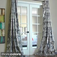 Lambrequin Amirah Intricate Damask Metallic Curtain Panel