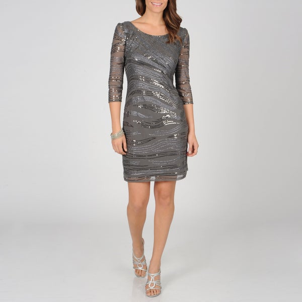 Ignite Evenings Women's Sequin Grey Sheath Dress