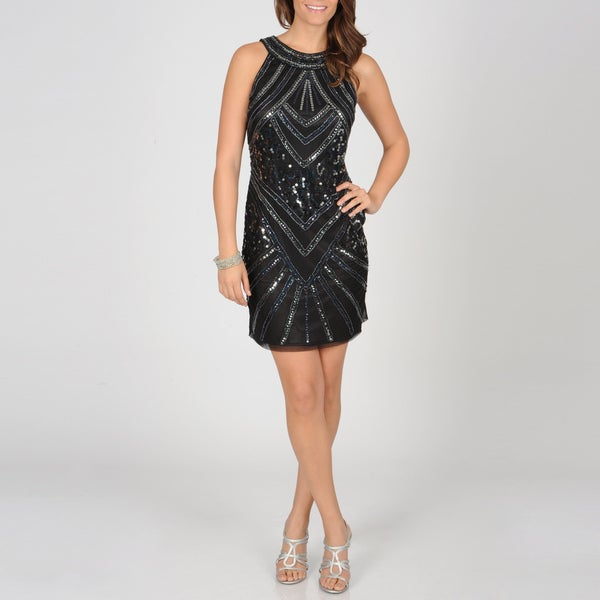 Ignite Evenings Women's Black Sequin Evening Dress