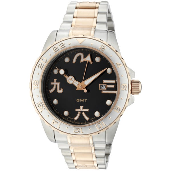 Evisu Men's 'Shirasee' Stainless Steel & Rose Goldtone IP SS Watch