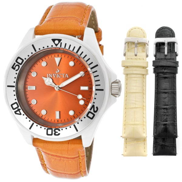 Invicta Women's 'Ceramics' Orange Genuine Leather Watch