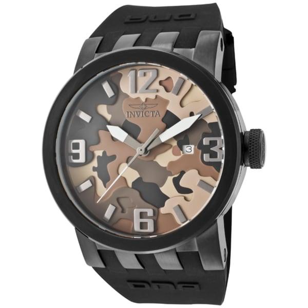 Invicta Men's 'DNA/Camouflage' Black Silicone Watch