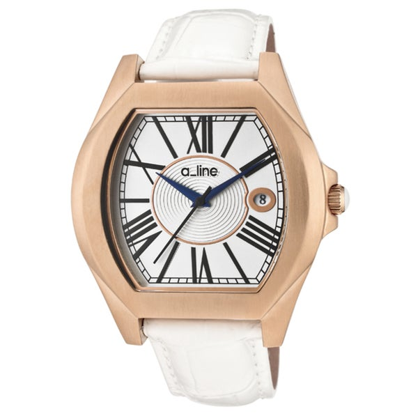 a_line Women's 'Adore' White Genuine Leather Watch