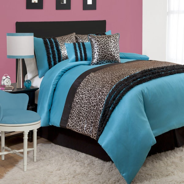 Lush Decor Kenya BlackBlue Piece Comforter Set Free Shipping - Black and teal comforter sets