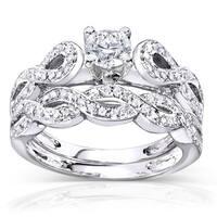 Annello by Kobelli 14k White Gold 1/2ct TDW Vintage Braided Diamond Bridal Set (H-I, I1-I