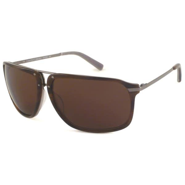 Calvin Klein Men's CK7254 Walnut/ Brown Aviator Sunglasses