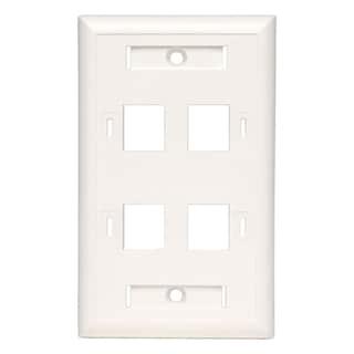 Tripp Lite Quad Outlet RJ45 Universal Keystone Face Plate / Wall Plat