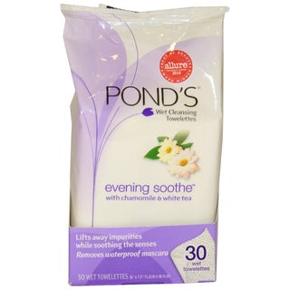 Wet Cleansing Towelettes Evening Soothe with Chamomile & White Tea by Pond's for Women - 30 Pc Towelettes