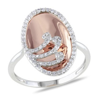 Miadora 10k Rose and White Gold 3/8ct TDW Swirl Diamond Fashion Ring
