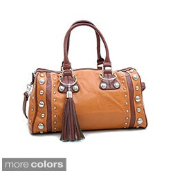 Dasein Large Studded Soft Matte Croco Satchel