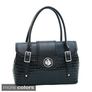 Dasein Patent Croco Twist Lock Closure Satchel