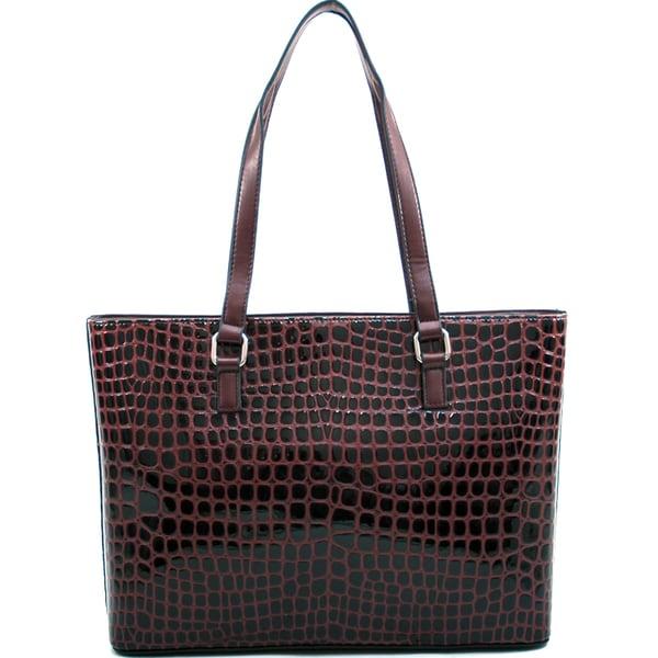 Dasein Large Patent Croco Tote Bag