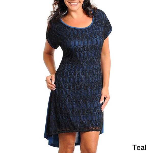 Shop Stanzino Womens Plus Size Cap Sleeve High Low Lace Dress