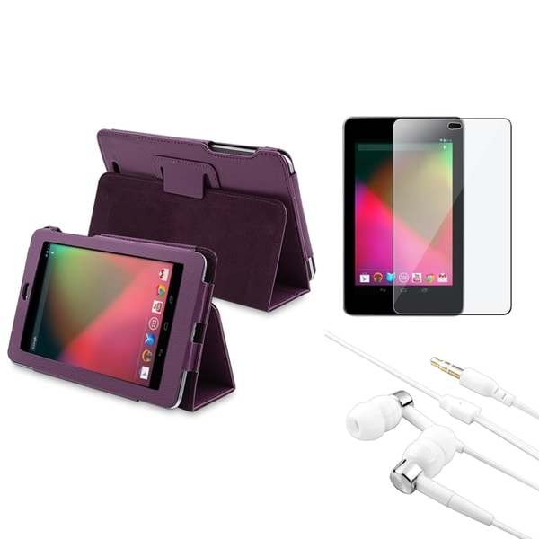 BasAcc Purple Leather Case/ Protector/ Headset for Google Nexus 7