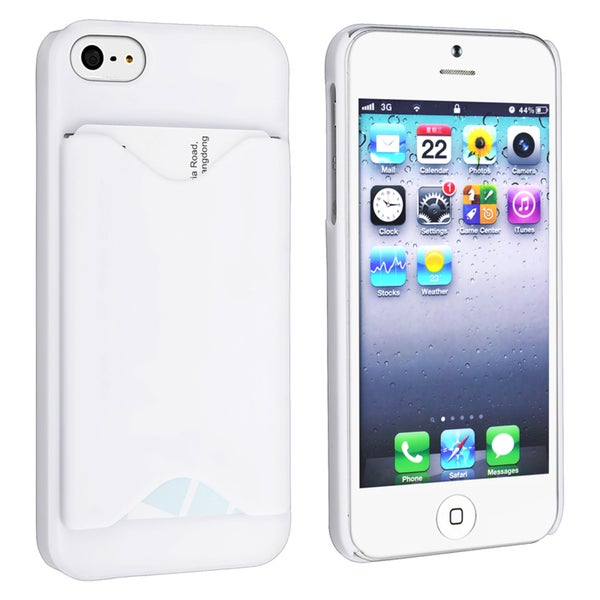 INSTEN White Snap-on Phone Case Cover with Card Holder for Apple Phone 5/ 5S