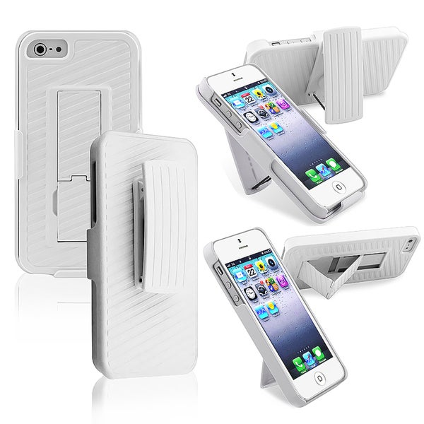 BasAcc White Snap-on Case with Holster/ Stand for Apple iPhone 5