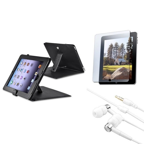 INSTEN Black Leather Tablet Case Cover/ Screen Protector/ Headset for Apple iPad 2