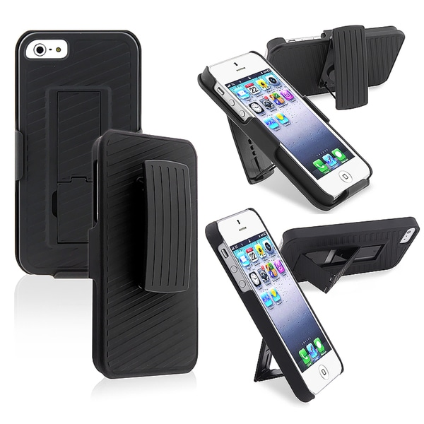 BasAcc Black Snap-on Case with Holster/ Stand for Apple iPhone 5