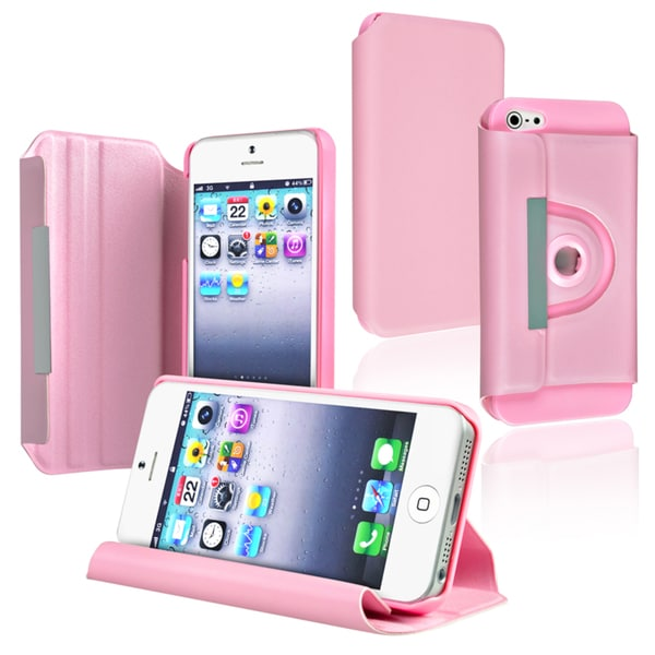 BasAcc Pink Leather Swivel Case for Apple iPhone 5