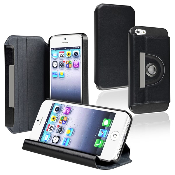 INSTEN Black Leather Swivel Phone Case Cover for Apple iPhone 5