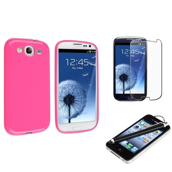 INSTEN TPU Rubber Phone Case Cover/ Protector/ Stylus for Samsung Galaxy S III/ S3