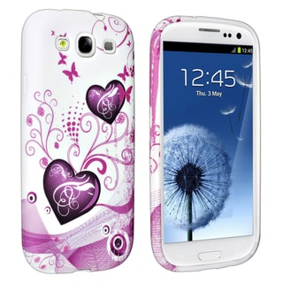 INSTEN Pink Heart TPU Phone Case Cover for Samsung Galaxy S III/ S3
