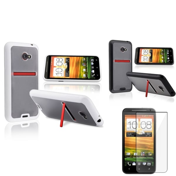 BasAcc Black/ White TPU Rubber Case/ LCD Protector for HTC EVO 4G LTE