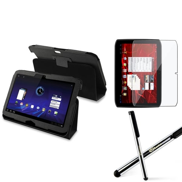BasAcc Black Leather Case/ LCD Protector/ Stylus for Motorola Xoom 2