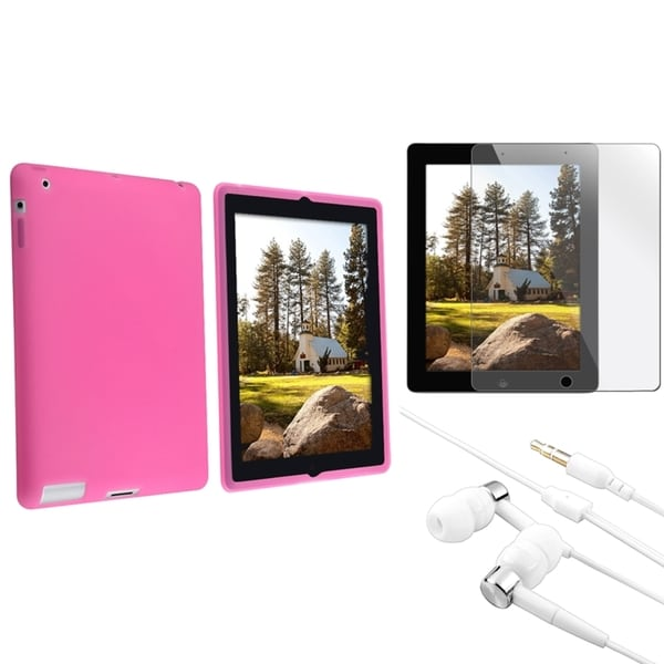 INSTEN Soft Silicone Tablet Case Cover/ LCD Protector/ Headset for Apple iPad 2