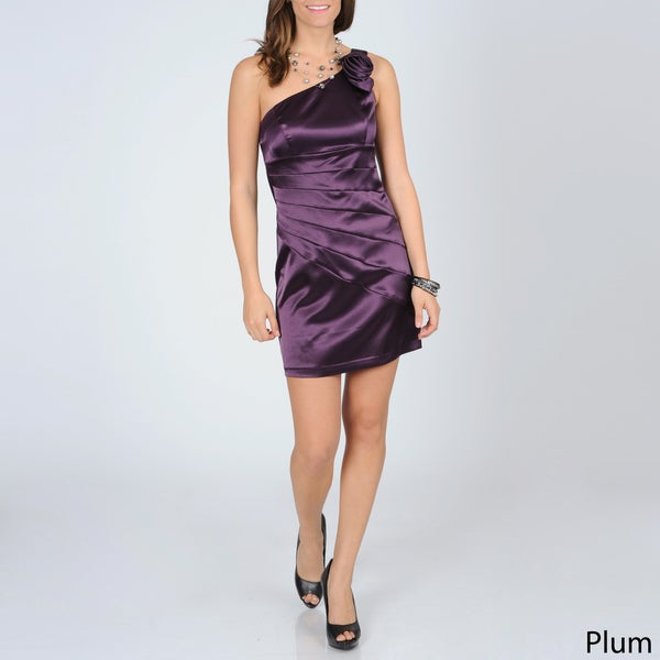 A. Byer Juniors One-shoulder Sunburst Pleated Satin Dress