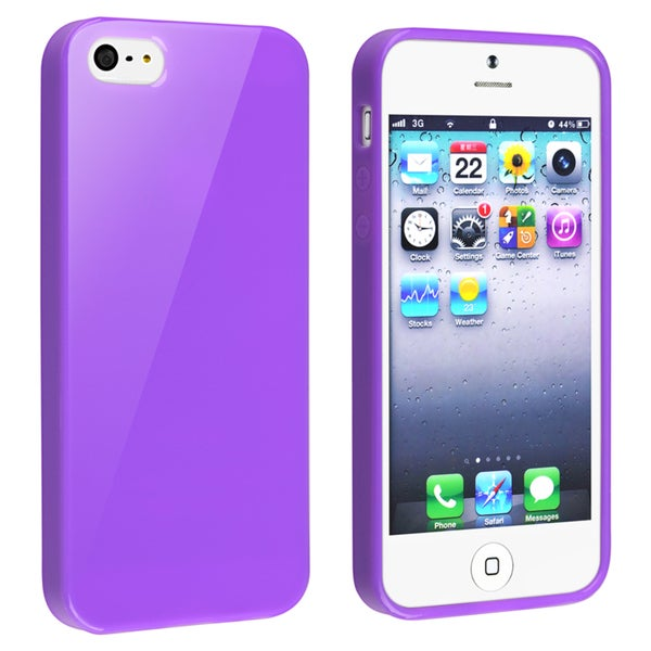 BasAcc Purple Jelly TPU Rubber Skin Case for Apple iPhone 5