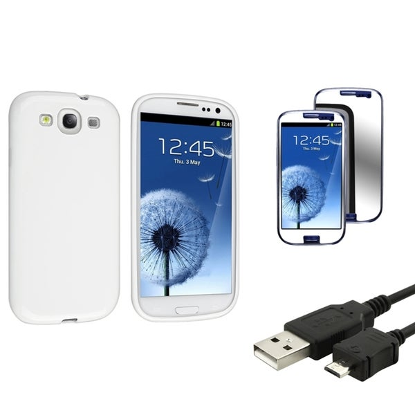 INSTEN Phone Case Cover/ Mirror LCD Protector/ Cable for Samsung Galaxy S III/ S3