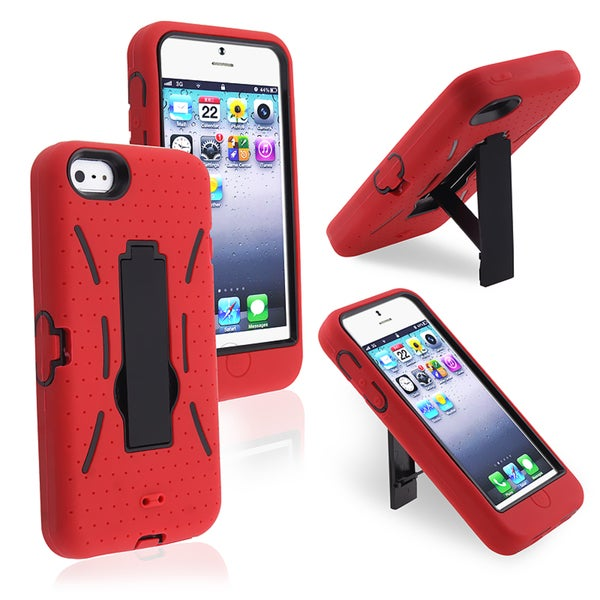 INSTEN Black/ Red Hybrid Phone Case Cover for Apple iPhone 5/ 5S