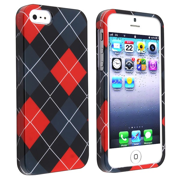 INSTEN Red/ Grey Snap-on Rubber Coated Phone Case Cover for Apple iPhone 5/ 5S